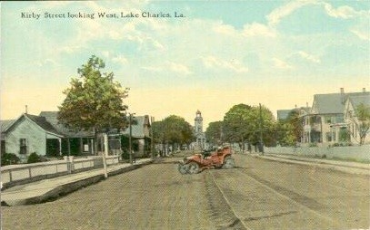 Vintage Postcard of Kirby Street in Lake Charles