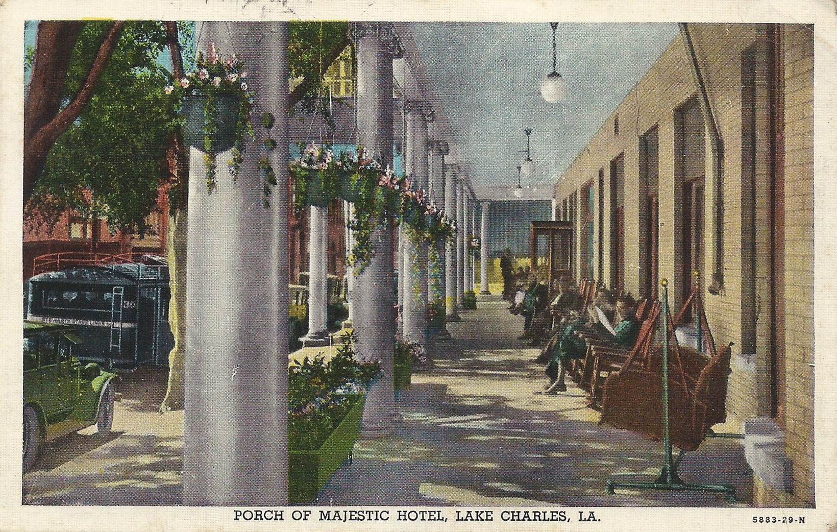 Postcard of the porch at the Majestic Hotel, a Lost Landmark