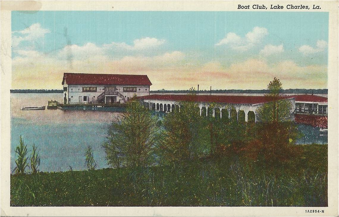 Postcard of Boat Club in Lake Charles near downtown